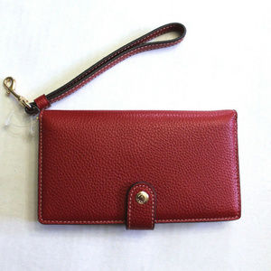Coach Pebbled Leather Phone Wristlet Wallet Clutch